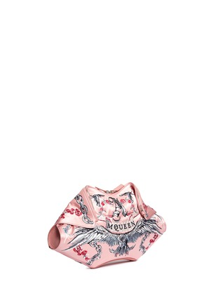 Front View - Click To Enlarge - Alexander McQueen - 'De Manta' tattoo embroidery satin clutch