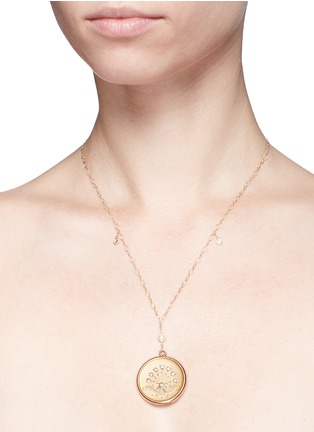 Detail View - Click To Enlarge - Antique Lockets - White quartz 14k gold chain round antique locket necklace