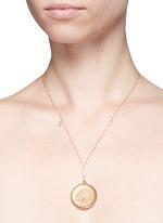 White quartz 14k gold chain round antique locket necklace