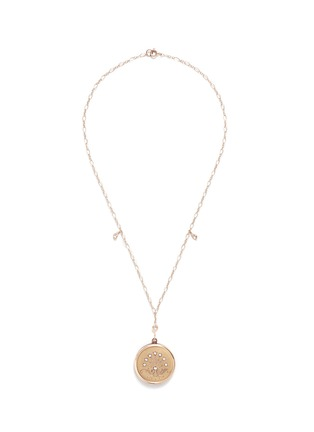 Main View - Click To Enlarge - Antique Lockets - White quartz 14k gold chain round antique locket necklace