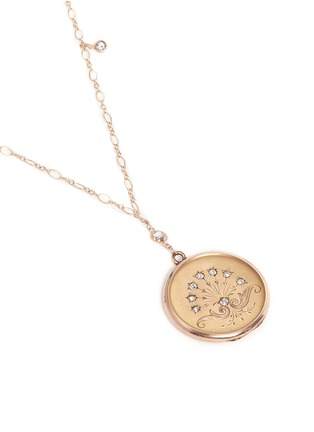 Figure View - Click To Enlarge - Antique Lockets - White quartz 14k gold chain round antique locket necklace