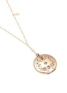 Antique Lockets White quartz 14k gold floral round antique locket necklace