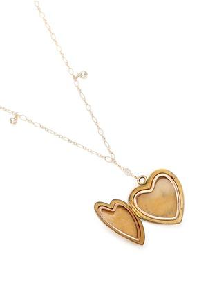 Detail View - Click To Enlarge - Antique Lockets - White quartz 14k gold chain heart antique locket necklace