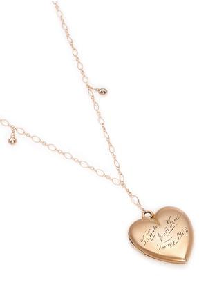 - Antique Lockets - White quartz 14k gold chain heart antique locket necklace