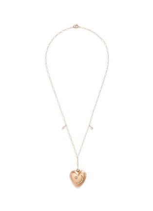Main View - Click To Enlarge - Antique Lockets - White quartz 14k gold chain heart antique locket necklace