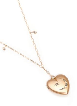 Figure View - Click To Enlarge - Antique Lockets - White quartz 14k gold chain heart antique locket necklace