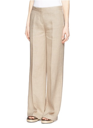 Front View - Click To Enlarge - Theory - 'Grinetta' linen burlap pants