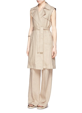 Figure View - Click To Enlarge - Theory - 'Grinetta' linen burlap pants