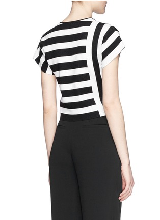 Back View - Click To Enlarge - Theory - 'Seblyn' contrast stripe cropped knit T-shirt