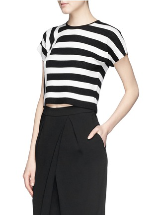 Front View - Click To Enlarge - Theory - 'Seblyn' contrast stripe cropped knit T-shirt