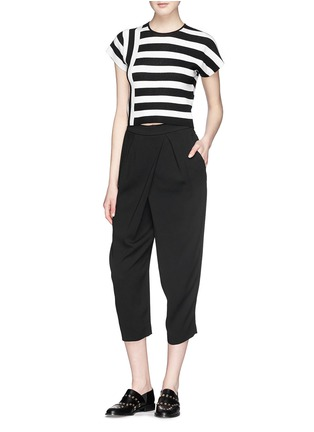 Figure View - Click To Enlarge - Theory - 'Seblyn' contrast stripe cropped knit T-shirt