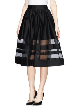 Front View - Click To Enlarge - alice + olivia - 'Misty' organza stripe pouf midi skirt