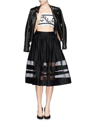 Figure View - Click To Enlarge - alice + olivia - 'Misty' organza stripe pouf midi skirt