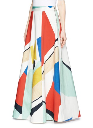 Front View - Click To Enlarge - alice + olivia - 'Bryn' graphic colourblock maxi skirt
