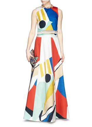 Figure View - Click To Enlarge - alice + olivia - 'Bryn' graphic colourblock maxi skirt