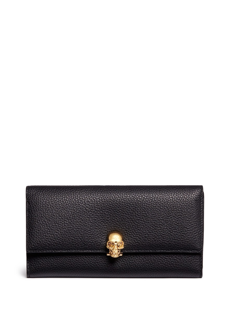 Skull charm leather French wallet by Alexander McQueen