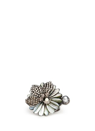 Main View - Click To Enlarge - Miriam Haskell - Crystal and beads floral ring
