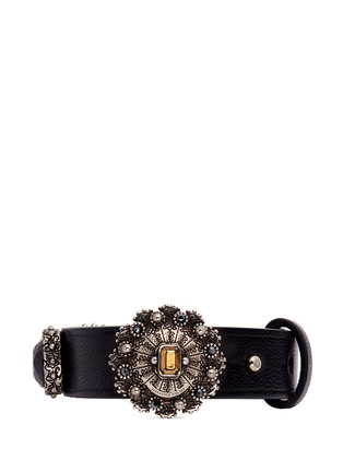 Main View - Click To Enlarge - Alexander McQueen - Celtic jewelled nappa leather bracelet