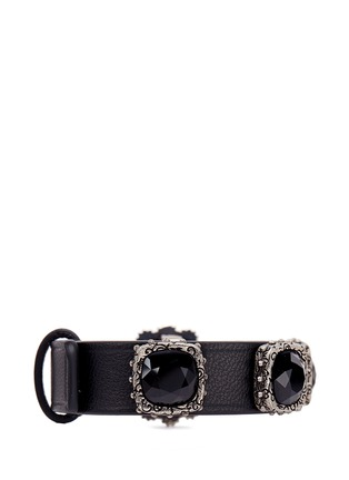 Figure View - Click To Enlarge - Alexander McQueen - Celtic jewelled nappa leather bracelet