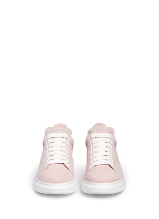 Front View - Click To Enlarge - Alexander McQueen - Chunky outsole metallic collar suede sneakers