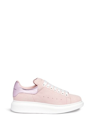 Main View - Click To Enlarge - Alexander McQueen - Chunky outsole metallic collar suede sneakers