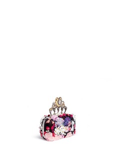 Alexander McQueen 'Hearth' floral appliqué satin knuckle clutch