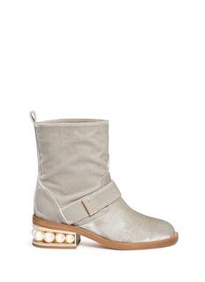 Nicholas Kirkwood'Castai' faux pearl heel velvet biker boots