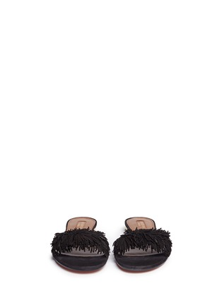 Front View - Click To Enlarge - Aquazzura - 'Wild Thing' fringe suede slide sandals