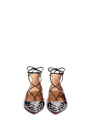 Front View - Click To Enlarge - Aquazzura - 'Christy' lace-up snakeskin leather flats