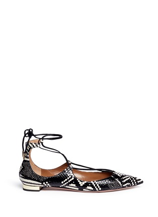 Main View - Click To Enlarge - Aquazzura - 'Christy' lace-up snakeskin leather flats