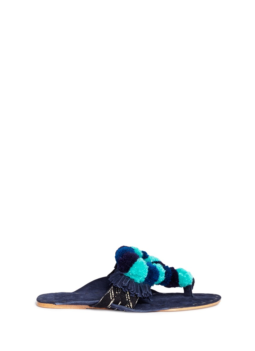 Salome mirror pompom embroidered leather thong sandals by Figue