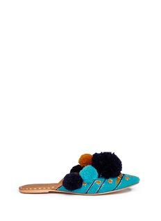 FIGUE SHOES 'Iris' pompom embroidered leather slides