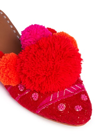 Detail View - Click To Enlarge - FIGUE SHOES - 'Iris' pompom embroidered leather slides