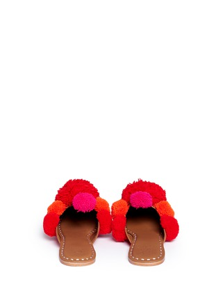 Back View - Click To Enlarge - Figue - 'Iris' pompom embroidered leather slides