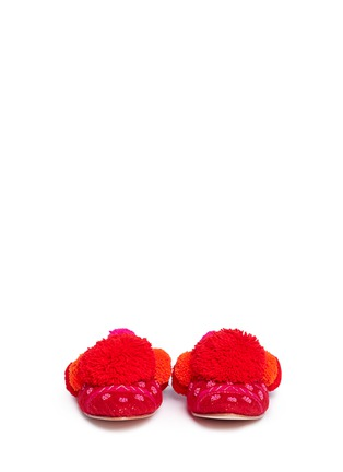 Front View - Click To Enlarge - FIGUE SHOES - 'Iris' pompom embroidered leather slides