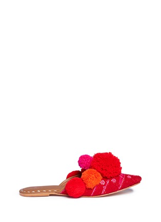 Main View - Click To Enlarge - Figue - 'Iris' pompom embroidered leather slides