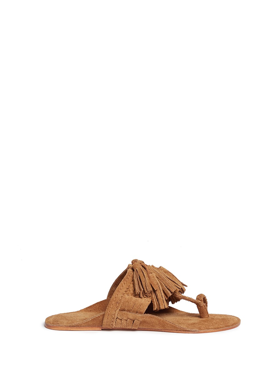 Scaramouche tassel braided leather thong sandals by Figue
