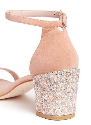 Detail View - Click To Enlarge - Stuart Weitzman - 'Simple' glitter heel suede sandals