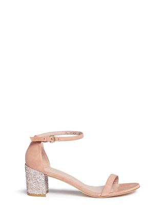Main View - Click To Enlarge - Stuart Weitzman - 'Simple' glitter heel suede sandals