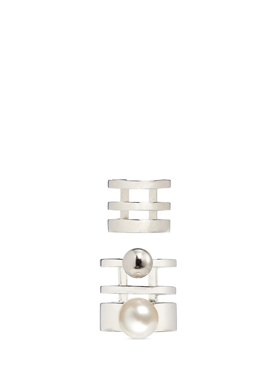 Love At First Sight single Swarovski pearl two ring set by Joomi Lim