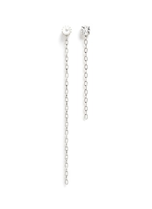 Main View - Click To Enlarge - Joomi Lim - 'Pure Punk' Swarovski pearl asymmetric chain earrings