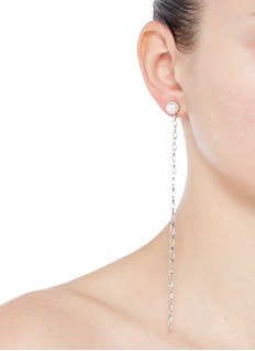 Joomi Lim 'Pure Punk' Swarovski pearl asymmetric chain earrings