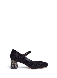 Sophia Webster 'Renee' crystal embellished heel floral leather Mary Jane pumps