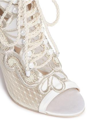 Detail View - Click To Enlarge - Sophia Webster - 'Selina' crystal embellished dot mesh satin sandal booties
