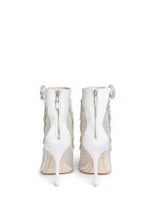 Back View - Click To Enlarge - Sophia Webster - 'Selina' crystal embellished dot mesh satin sandal booties