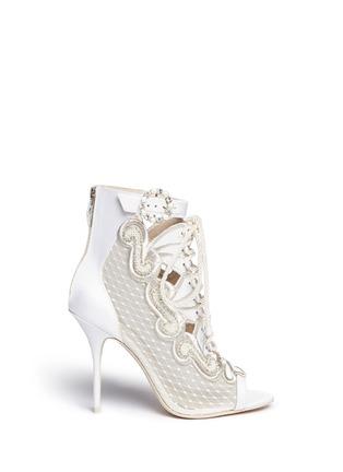 Main View - Click To Enlarge - Sophia Webster - 'Selina' crystal embellished dot mesh satin sandal booties