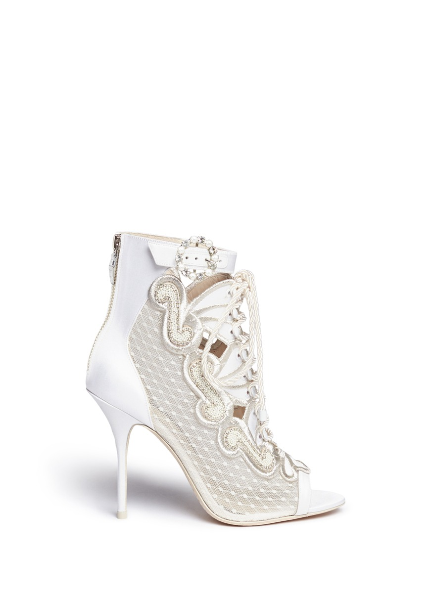 Selina crystal embellished dot mesh satin sandal booties by Sophia Webster