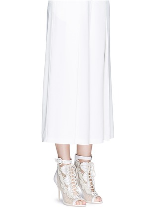 Figure View - Click To Enlarge - Sophia Webster - 'Selina' crystal embellished dot mesh satin sandal booties
