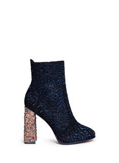 Sophia Webster'Kendra' crystal embellished heel Baroque leather boots