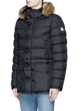 Front View - Click To Enlarge - Moncler - 'Cluny' detachable coyote fur hood down jacket